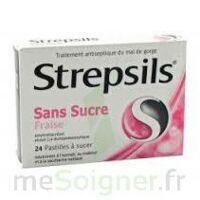 STREPSILS FRAISE SANS SUCRE, pastille édulcorée à l'isomalt, au maltitol et à la saccharine sodique à Marseille